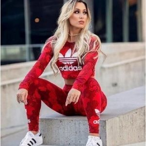 Adidas trefoil red floral set